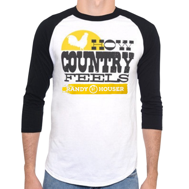 Randy Houser White and Black Raglan Baseball Tee