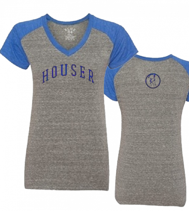Randy Houser Ladies Raglan Heather Grey and Royal V Neck